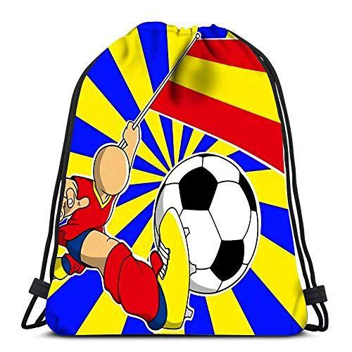 Lmtt Mochila con cordón Bolsas Deportes Cinch Jugador de fútbol de España con Bandera y Pelota Mochila de Cuerda de Dibujos Animados Bolsas de Almacenamiento a Granel para Gimnasio Escolar