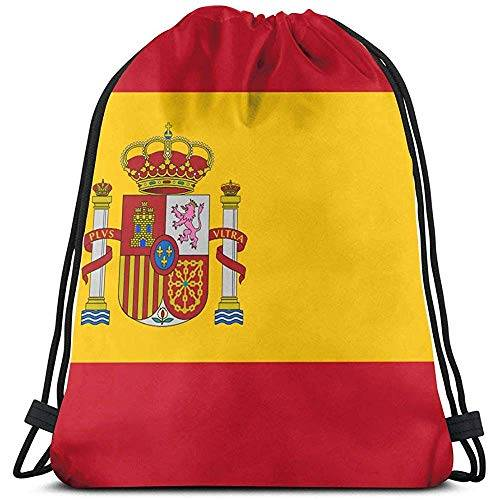 Arvolas Bolsas con cordón de Gimnasio Bandera de España Bolsa de tirón de Cuerda Mochila de Cuerda Bolsas Cinch duraderas Bolsa de Deporte portátil