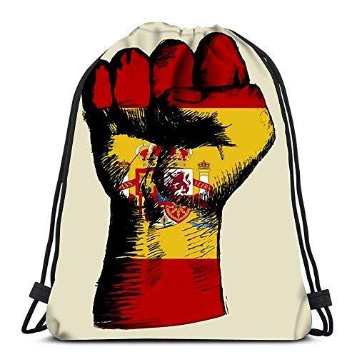 Ahdyr Mochila con cordón Bolsas Deportes Cinch Boceto de puño con Insignia de España para el Gimnasio de la Escuela