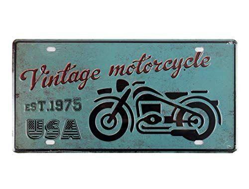 YUDA MATRÍCULAS Decorativas, Placas, 30x15cm/30x20cm, Vintage, Americanas, Marcas de Coche, países, Motos, decoración casa, hogar Vintage (Vintage Motorcycle)