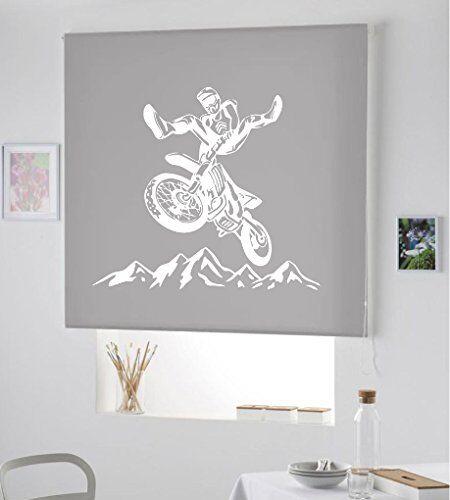 ESTORES IROA ESTORES P DE Motocross- ESTORES ENROLLABLES TRANSLUCIDOS DE Motos- Nuevo Estor Enrollable TRANSLUCIDO/PERSIANA Estor Motos, Club Motos (Gris, 180X175)