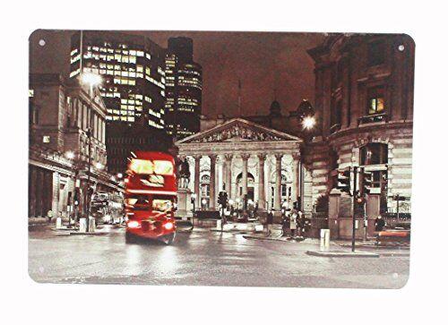YUDA MATRÍCULAS DECORATIVAS, placas, 30x20cm, vintage, americanas, marcas de coche, países, motos, decoración casa, hogar vintage (LONDON CITY)