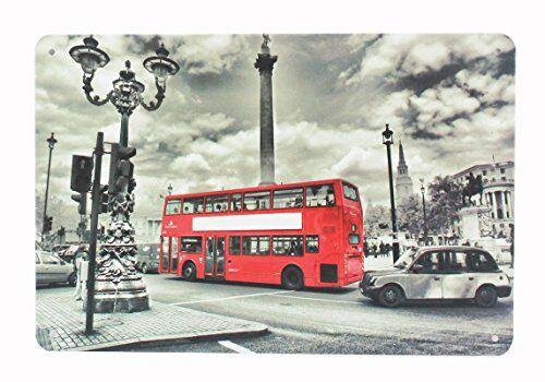 YUDA MATRÍCULAS DECORATIVAS, placas, 30x20cm, vintage, americanas, marcas de coche, países, motos, decoración casa, hogar vintage (BUS LONDON)