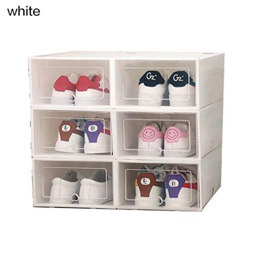 Beiouya - Caja transparente de plástico transparente para zapatos, cajón grueso de polipropileno, caja para sujetadores y ropa interior apilable y caja organizadora de calzado de bajo desgaste, 6 unidades., polipropileno plástico, Blanco