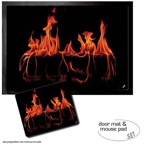 1art1 Fuegos, Fuego De La Chimenea Felpudo Alfombra (70x50 cm) + Alfombrilla para Ratón (23x19 cm) Set Regalo