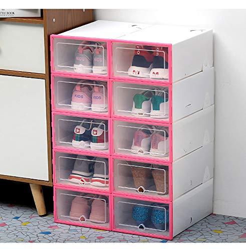 Beiouya - Caja transparente de plástico transparente para zapatos, cajón grueso de polipropileno, caja para sujetadores y ropa interior apilable y caja organizadora de calzado de bajo desgaste, 6 unidades., polipropileno plástico, rosa
