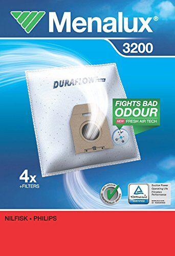 Menalux 3200 - Pack de 4 bolsas sintéticas y 2 filtros para aspiradoras Nilfisk New Line y Philips Classic, Vision y Compact