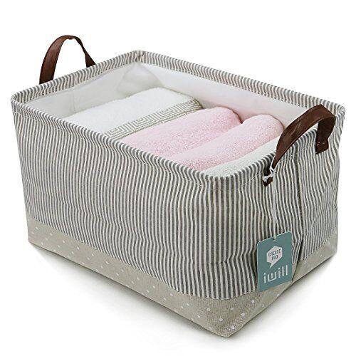 iwill createpro Cestas de almacenamiento, 100% algodón. Almacenamiento para el bebé y del juguete Organizador. Cestas de vivero, Estante de almacenamiento de contenedores (Beige)