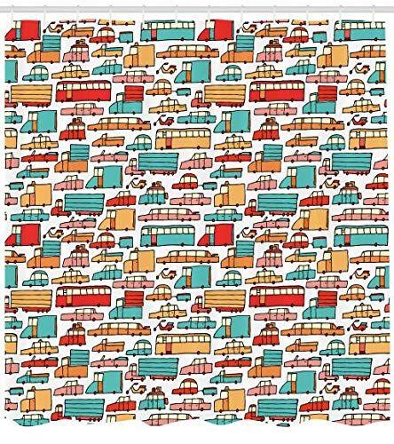 ABAKUHAUS Coches Cortina de Baño, Motos Caravanas Autobus, Tela Estampa Moderna Fácil Limpieza Antimoho Colores Vibrantes, 175 x 200 cm, Aqua Red Orange