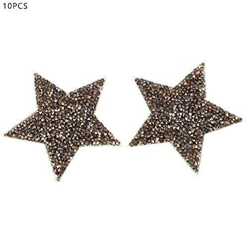 HEEPDD 10 unids Rhinestone Estrellas Apliques DIY Cristales Parches para Zapatos Bolsos Sombreros Ropa Accesorios de la joyería(Gris)