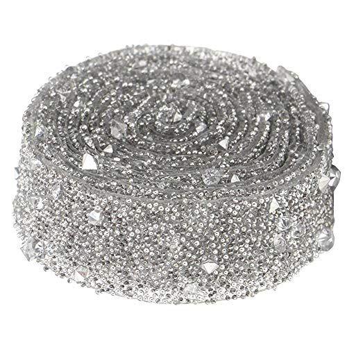 HEEPDD 1 Yarda con Cuentas de Cristal de la Cinta, Delicado Brillante Lentejuelas de Cristal con Cuentas DIY artesanía decoración para el Vestido Ropa joyería Bolsos(Plata)