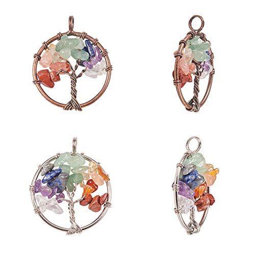 PandaHall Elite - 4 colgantes de árbol de la vida con piedras preciosas de chakra, colgante de piedra de cristal para collar, pendientes, collar y joyería (platino, cobre rojo)