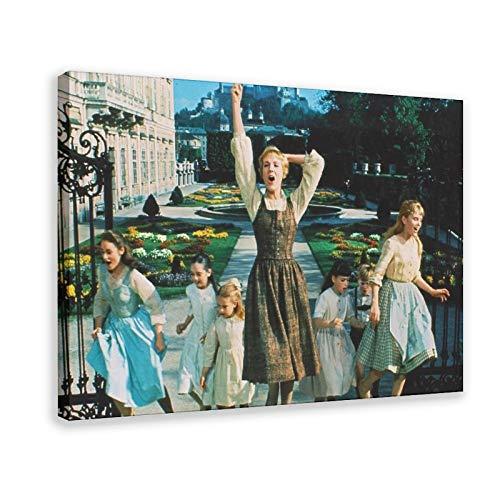 LINHUANG Póster de la película El sonido de la música, 6 lienzos, decoración de dormitorio, paisaje, oficina, decoración de habitación, regalo de 30 x 45 cm, estilo de marco 1