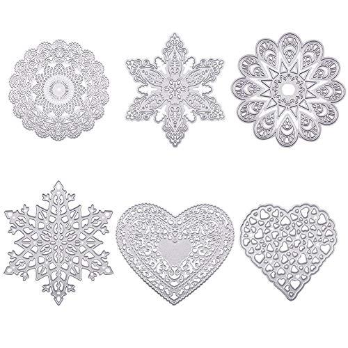 BENECREAT 6 Sets Troqueles Metal para Scrapbooking lbum de Corte Artesanía Dcorativa de Manualidad, Flor, Nieve,Corazón