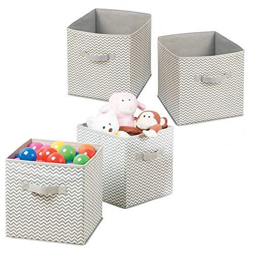 M-Design mDesign Juego de 4 Cajas para organizar juguetes - Caja de tela para artículos de bebé y niños - Organizador de tela para mantas, ropa o juguetes - gris topo/natural