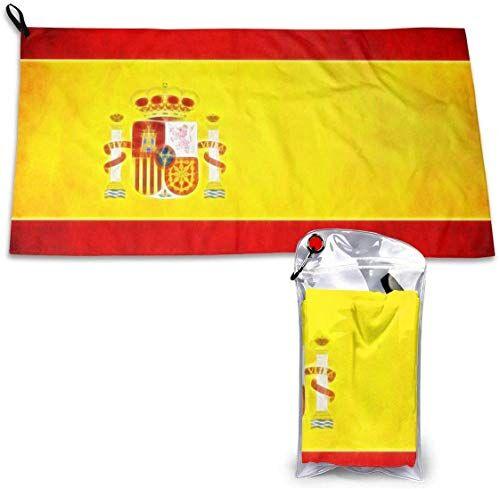 LBTD - Toalla de microfibra de secado rápido con diseño de la bandera de España, muy absorbente, apta para senderismo, viajes, camping, playa, mochilero, gimnasio, deportes y natación, 40 x 80 cm
