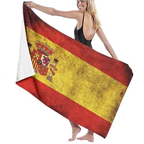 YHJUI Toalla de playa con bandera de España vintage, Toalla de baño absorbente suave Toalla de mano para deportes de natación Playa a prueba de sol, Toallas de secado rápido Hawiia de verano Toalla de