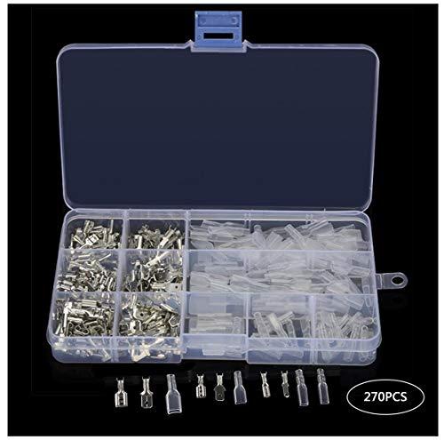 Biluer 270 Piezas 2,8 mm 4,8 mm 6,3 mm Kit Terminales Electricos de Crimpado Conectores Con Aislante Manga Terminales Faston Macho/Hembra Para Cables DIY Coches/Motos Altavoz de Audio