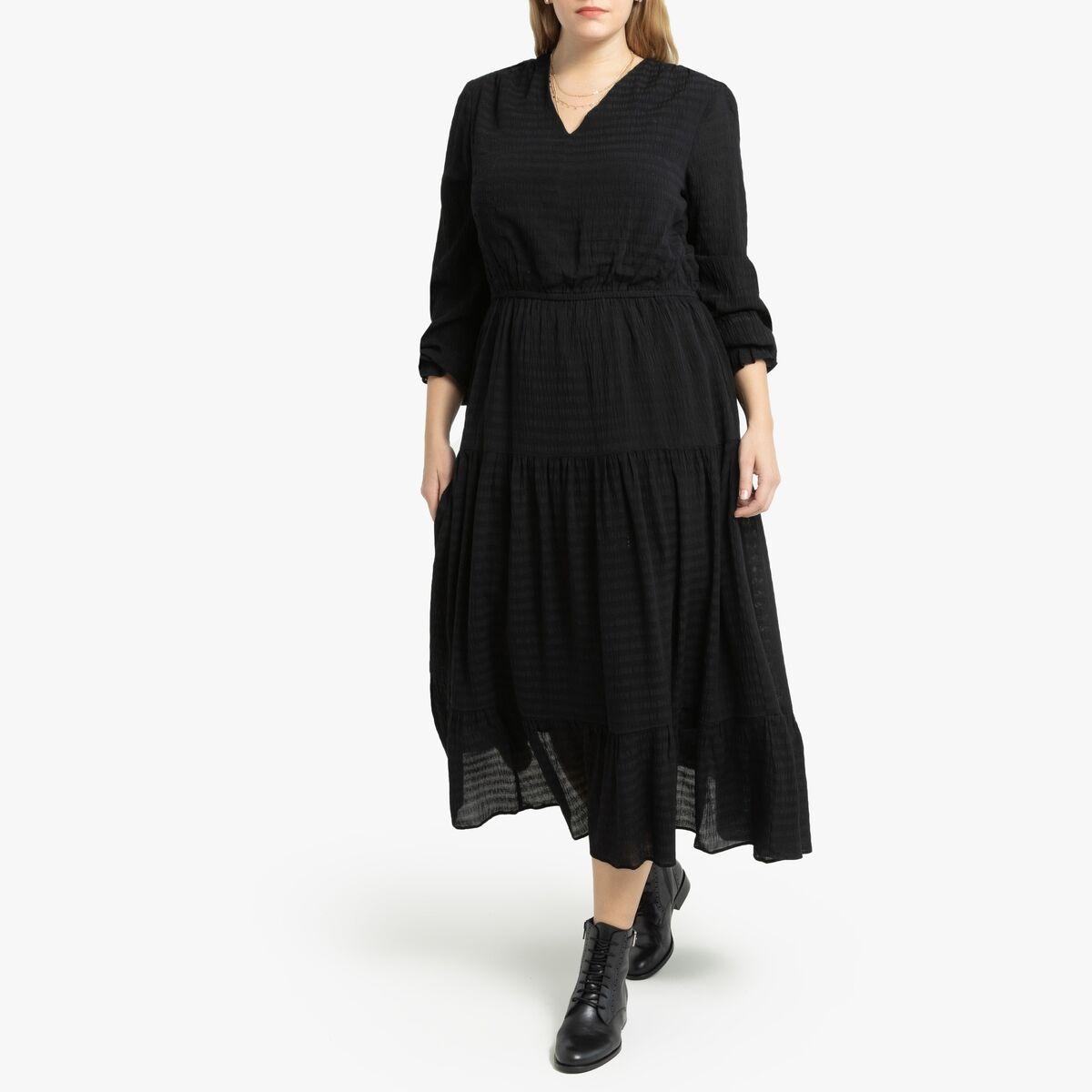 LA REDOUTE COLLECTIONS PLUS Vestido largo con cuello de pico y manga larga NEGRO
