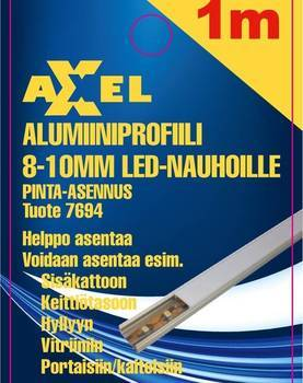 Axxel Alumiiniprofiili LED-nauhoille 1 m, 8-10 mm 12,2 x 8,9 mm