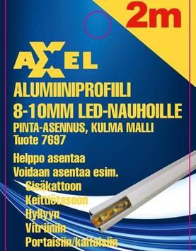 Axxel Alumiiniprofiili LED-nauhoille 2 m, 8-10 mm 16 x 11 mm, opaali kansi