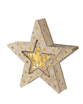 Airam Tähti 2in1, 2 tähteä sisäkkäin, natur b/o timer