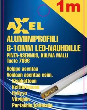 Axxel Alumiiniprofiili LED-nauhoille 1 m, 8-10 mm 16 x 11 mm, opaali kansi