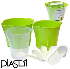 Plast1 Keittiösarja kulho+ siivilä+ mitat