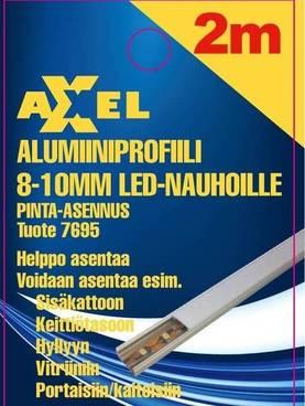 Axxel Alumiiniprofiili LED-nauhoille 2 m, 8-10 mm 12,2 x 8,9 mm