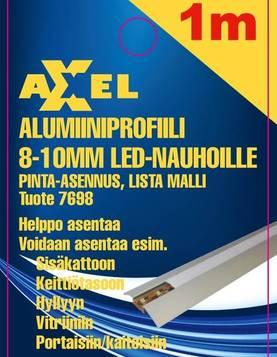 Axxel Alumiiniprofiili LED-nauhoille 1 m, 8-10 mm, lista malli 52 x 8,2 mm, opaali kansi