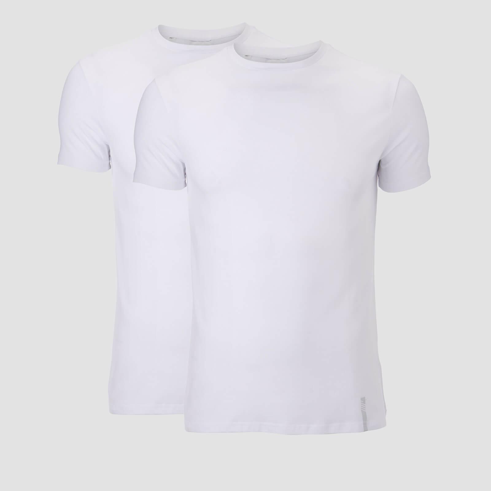 Myprotein Luxe Classic Crew T-Paita (2 Pack) - Valkoinen/Valkoinen - S