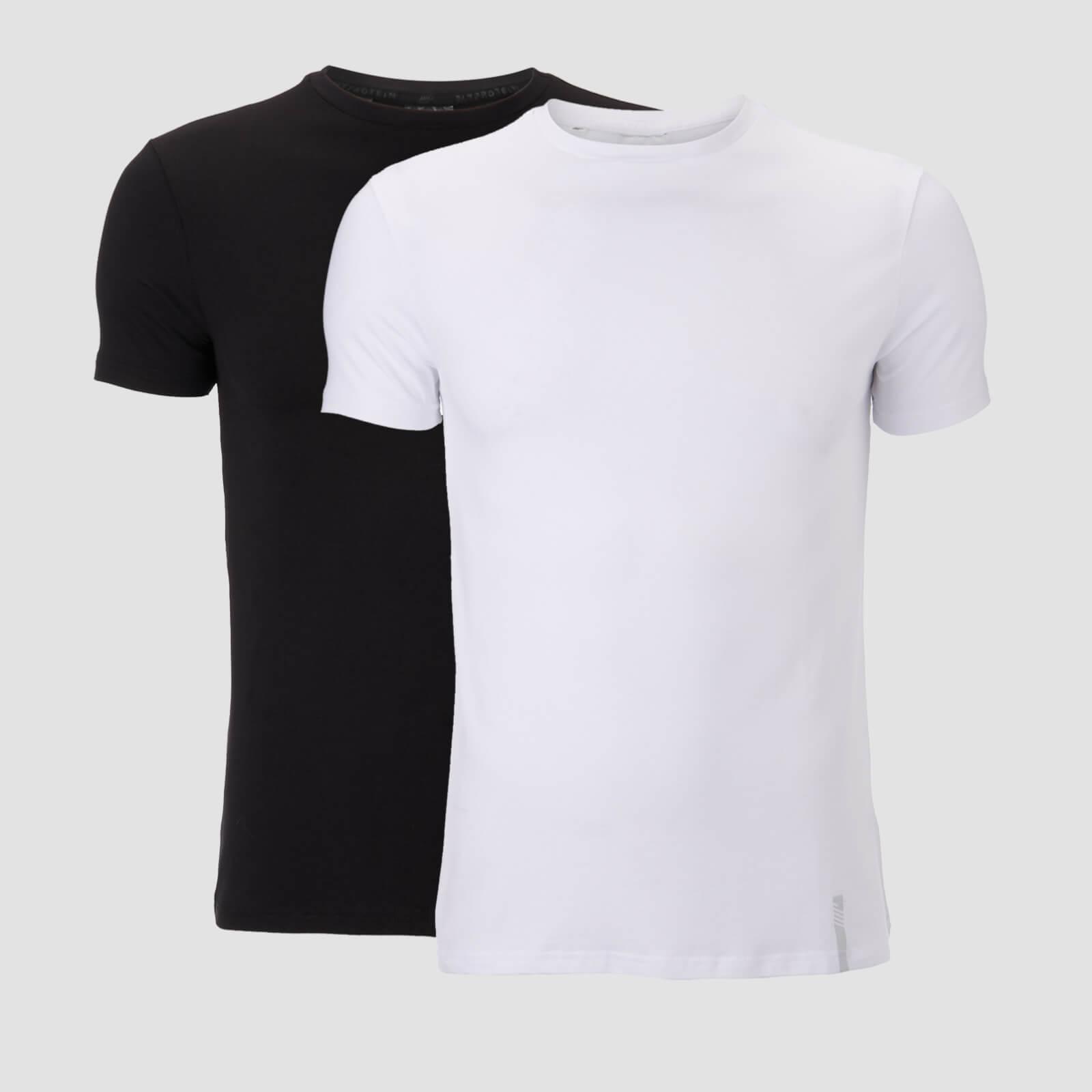 Myprotein Luxe Classic Crew T-Paita (2 Pack) - Musta/Valkoinen - S
