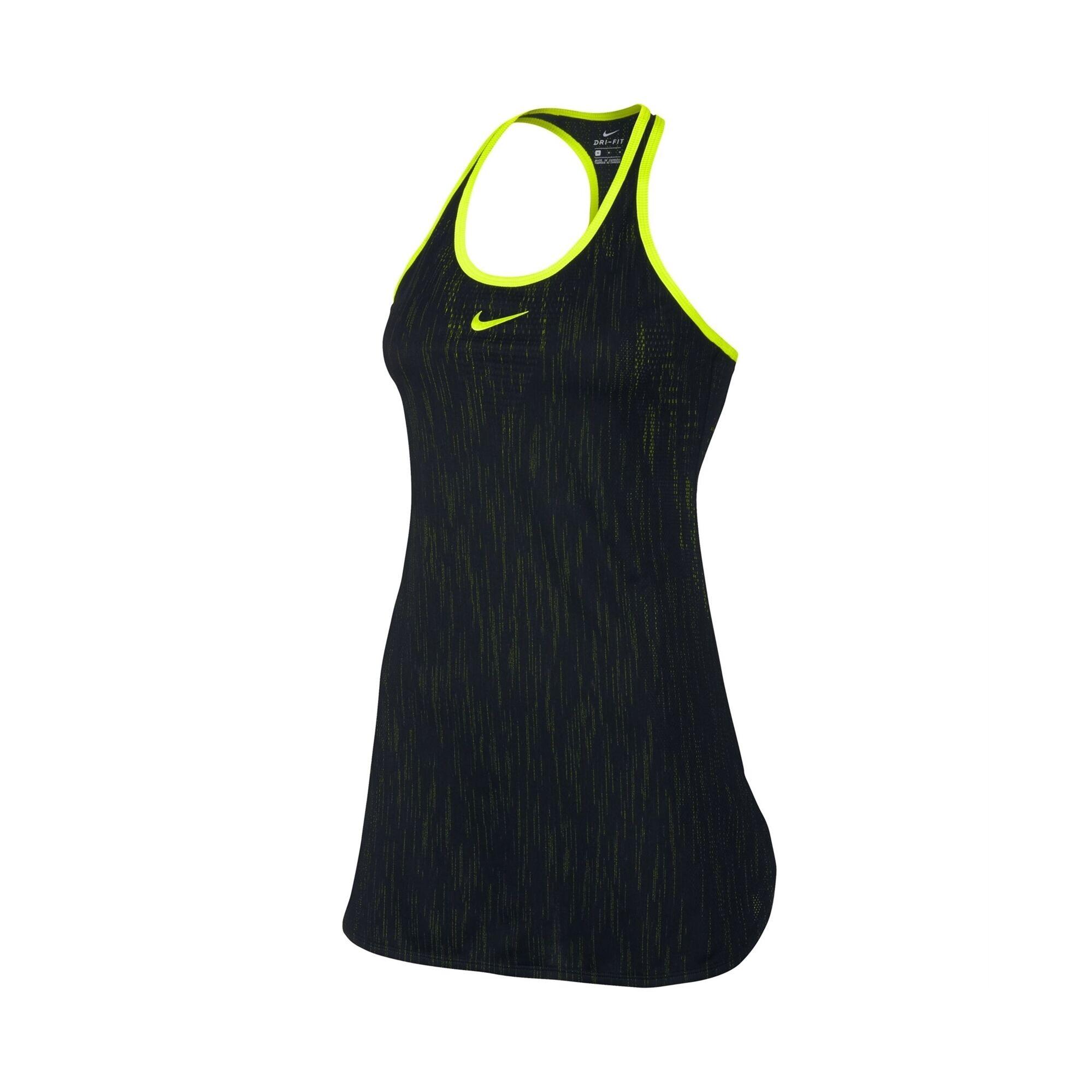 Image of Nike Court Dry Slam Dress Black/Yellow XS