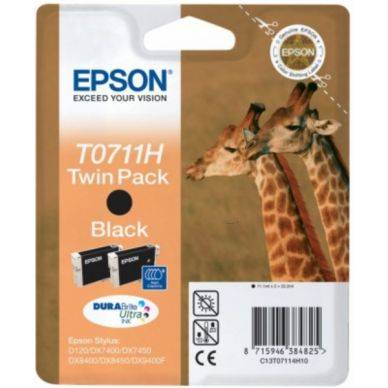 Epson Mustepatruuna musta High Yield 22,2ml 2-pakkaus T0711H Replace: N/A