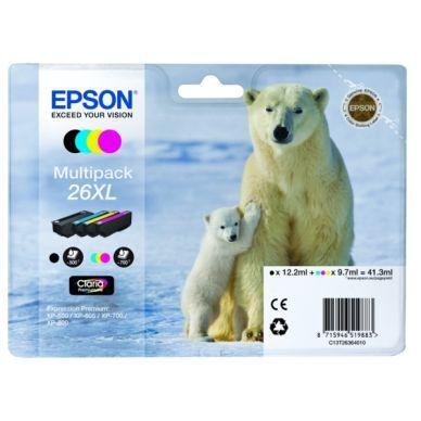 Epson Mustepatruuna MultiPack Bk,C,M,Y XL, Innehåll 1x500 T2636 Replace: N/A