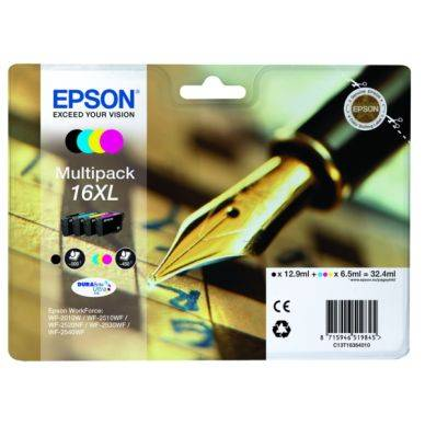 Epson Mustepatruuna MultiPack Bk,C,M,Y XL, 12,9 ml T1636 Replace: N/A