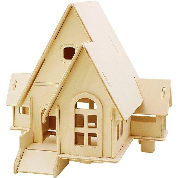 Image of 3D-palapeli, talo ramppeineen, koko 22,5x17,5x20,5 , vaneri, 1kpl