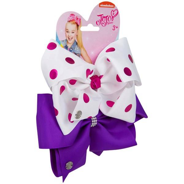 Jojo Siwa Bow Set - White Pink/ Crystal Purple