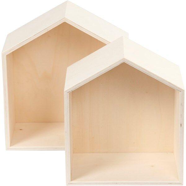 Image of Säilytyslaatikot, talot, kork. 22,5+25 cm, lev. 19,5+22,5 cm, vaneri, 2kpl, syvyys 12,5 cm