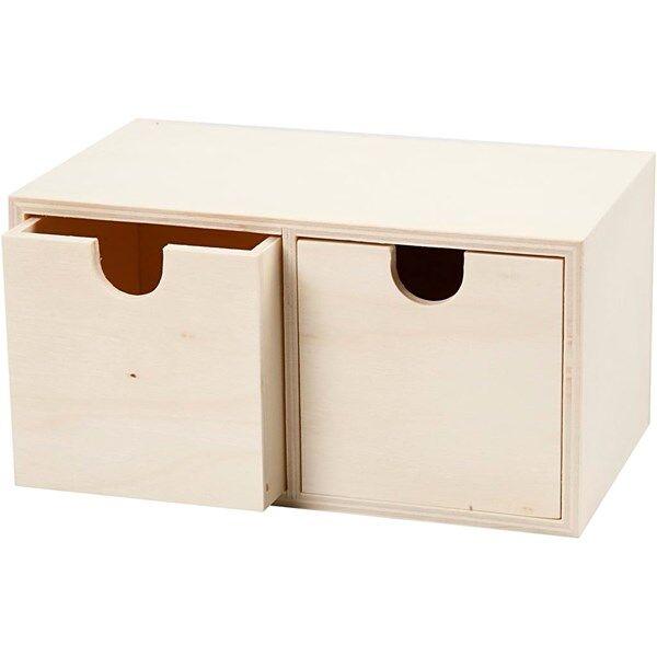 Image of Pikkulaatikosto, 2 laatikkoa, koko 9,2x17,7 cm, sisämitta 7,2x7,2 cm, vaneri, 1kpl