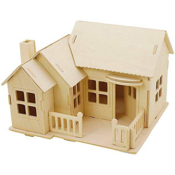 Image of 3D-palapeli, talo terasseineen, koko 19x17,5x15 , vaneri, 1kpl