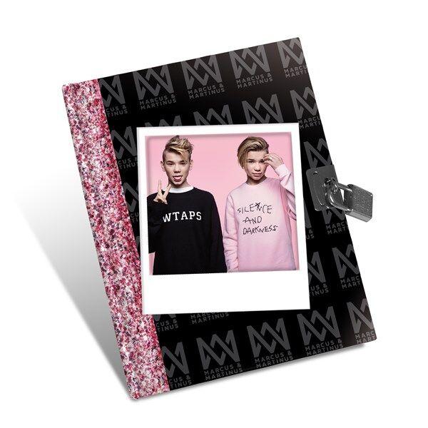 Marcus & Martinus, päiväkirja musta/vaaleanpunainen