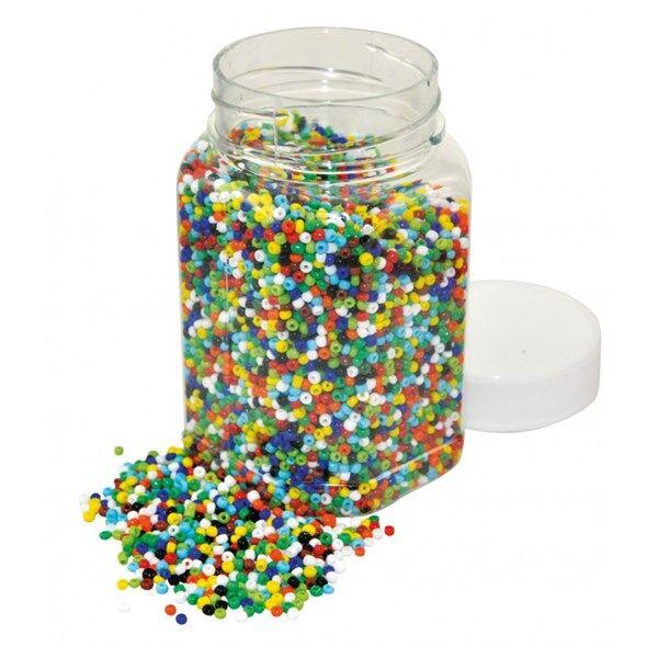 Playbox, Glaspärlor, 500 g, Ø 2 mm, basfärger
