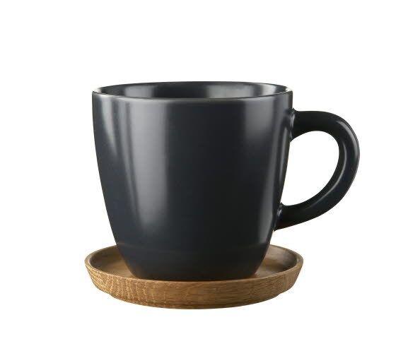 Rörstrand Höganäs Keramik Kahvimuki Puulautasella 33 cl Grafiitinharmaa