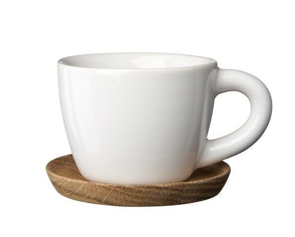 Rörstrand Höganäs Keramik Espressokuppi puulautasella 10 cl Valkoinen