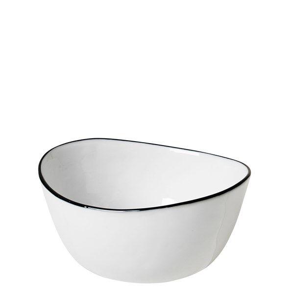 Broste Skål Salt 5.5x11x10 cm Vit med Svart Kant
