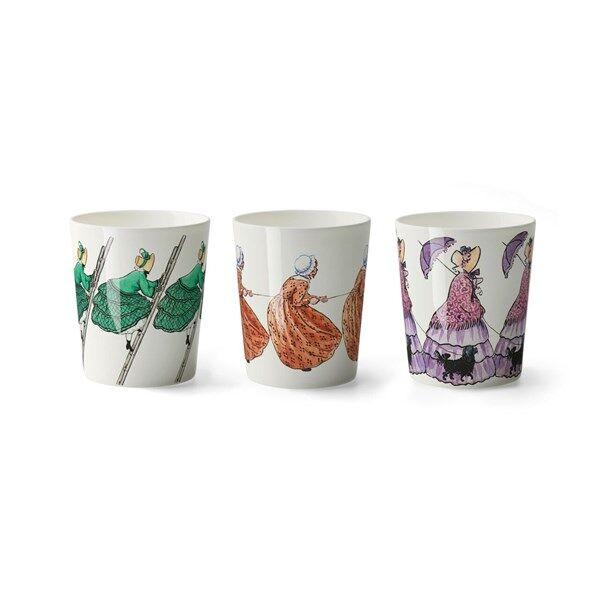 Design House Elsa Beskow Aunt Green, Brown and Lavender Muki 3 kpl 28 cl