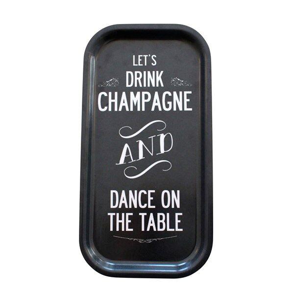 I Love Design Tarjotin Champagne Musta