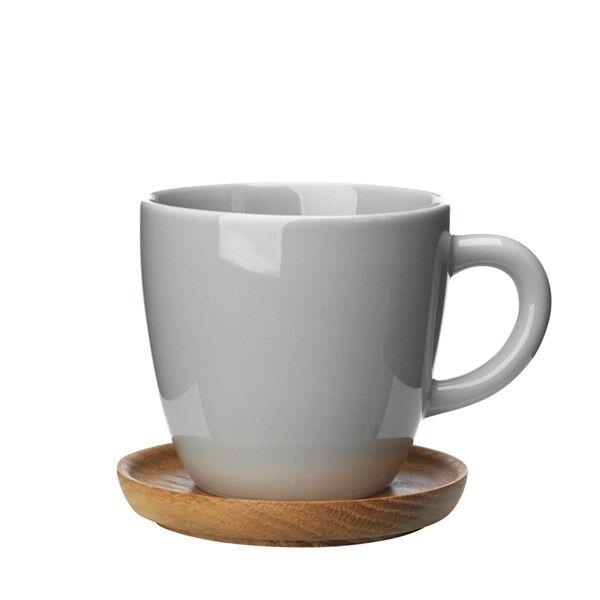 Rörstrand Höganäs Keramik Kahvimuki puulautasella 33 cl Harmaa