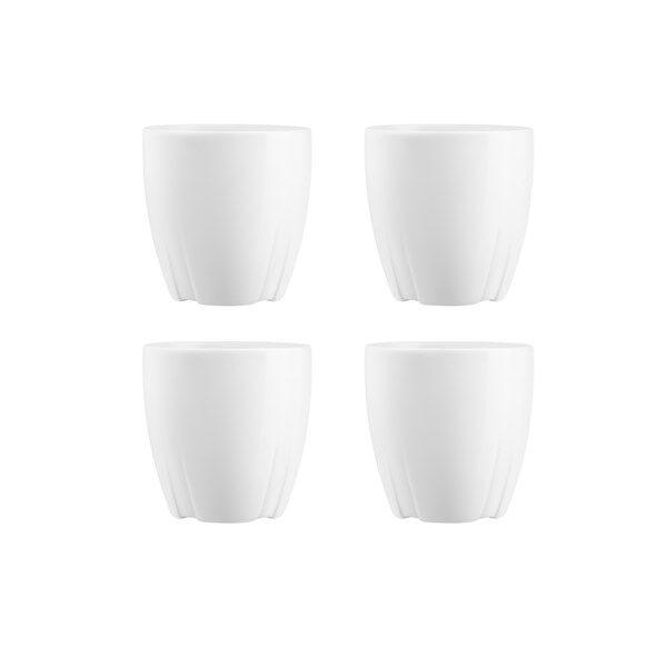 Kosta Boda Bruk Espressomuki Puukannella 4 kpl Valkoinen